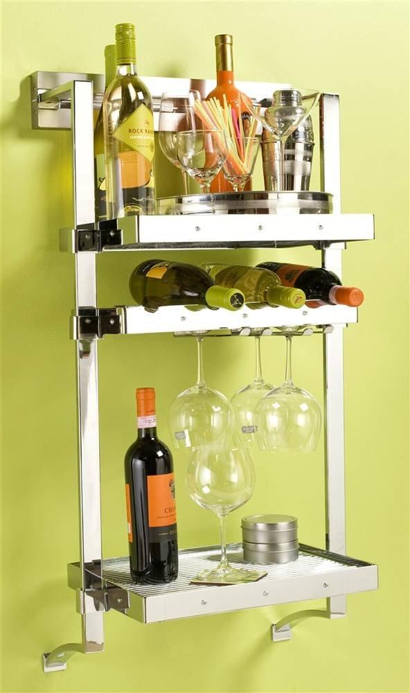 18 in. Wall Mounted Wine Rack (Satin Nickel)