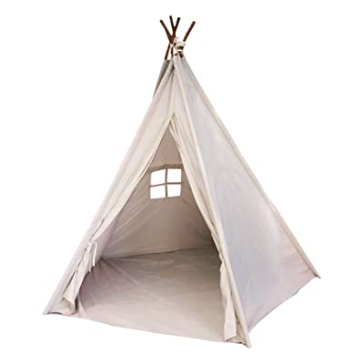 Toysland Indoor Indian Playhouse Toy Teepee Play Tent for Kids Toddlers Canvas with Carry Case, Off White: Home & Kitchen