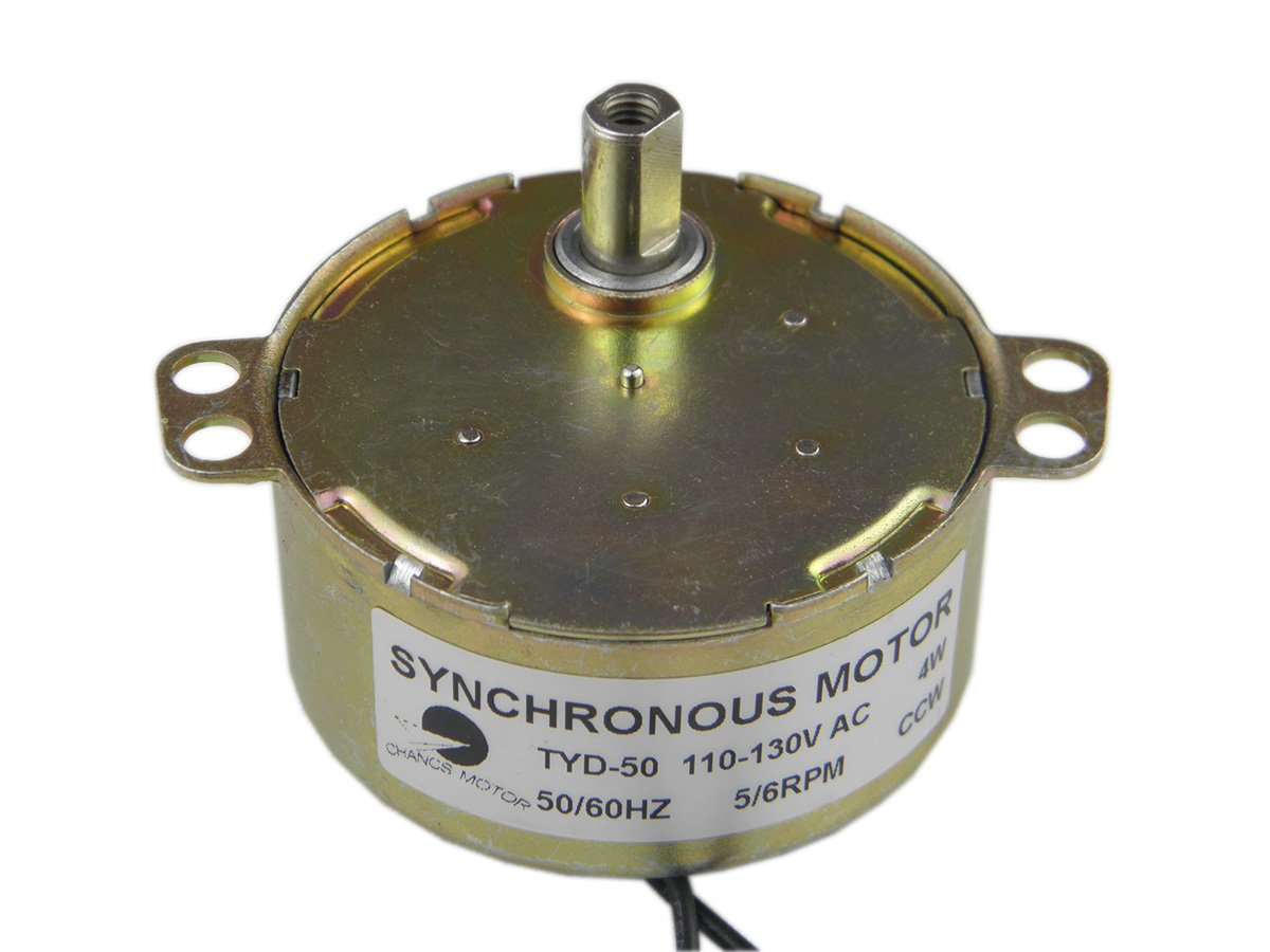 CHANCS TYD-50 Small Synchronous Gear Motor AC 110V 5-6RPM CCW Torque 6Kg.cm For School Project