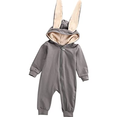 c389176d670 Amazon.com  ONE S Baby Girls Boys 3D Bunny Ear Romper Long Sleeve Hooded  Warm Playsuit Easter Outfits  Clothing