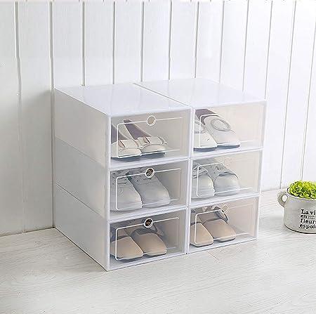 MMWYC Caja de Zapatos de plástico Transparente de 1 Unidad Almacenamiento Organizador de Zapatos Cajón Rectángulo Zapatos Organizador Cajón Cajas de Zapatos / 13.2x9.3x5.1inches , 12.4x8.4x4.7inches: Amazon.es: Hogar