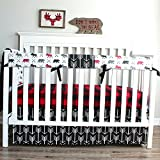 Lumberjack Moose Bear Woodland 3 PC Crib Baby Bedding-Rail Cover, Crib Skirt, Sheet