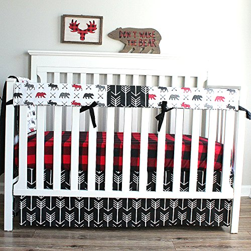Lumberjack Moose Bear Woodland 3 PC Crib Baby Bedding-Rail Cover, Crib Skirt, Sheet by Baby Milan