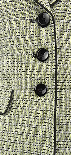 Le Suit Women's 3 Button Piped Tweed Jacket Skirt Suit Set