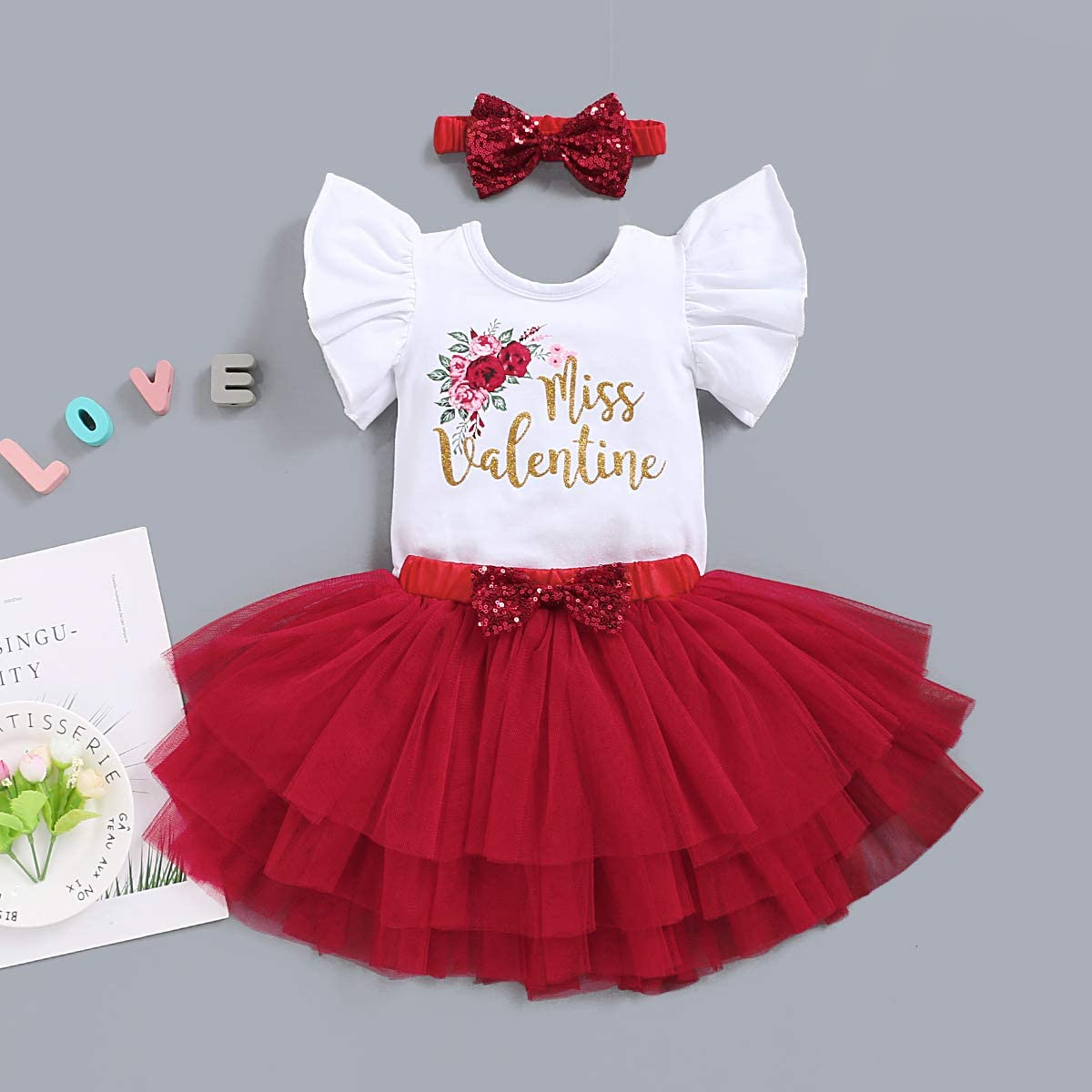 Tulle Tutu Skirt Headband Clothes Set Valentines Day Baby Girls Outfit Miss Valentine Ruffle Sleeve Romper