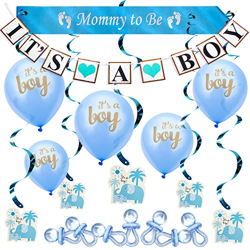 ARTIT Baby Shower Boy Blue Decoration Set All-in-1 Perfect Party Bundle Kit Hottest Favors - Banner, Balloons, Mommy To Be Sash, Elephant Swirls, Large Acrylic Pacifiers (37 psc) - Exclusive Gold Foil Card