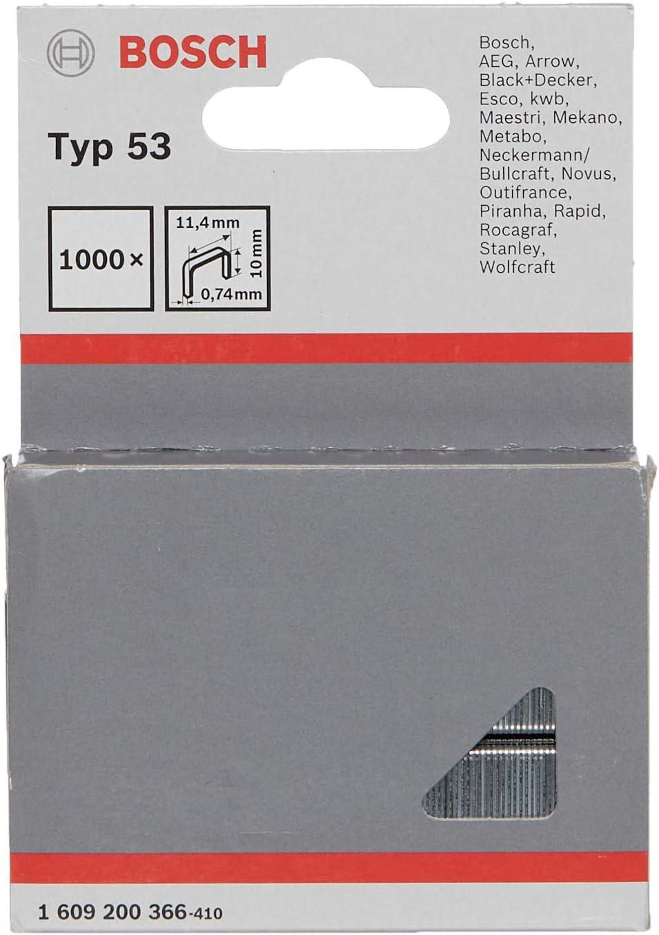 Bosch 1 609 200 366 - Pack de 1000 grapas de alambre fino tipo 53 (11,4 x 0,74 x 10 mm)