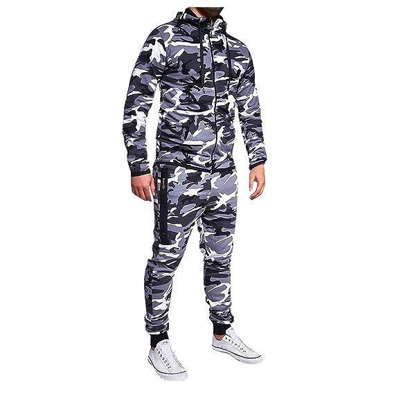 Men Camo Hoodie Tops Pants Suit Set Sport Coat Tracksuit Sportswear Sweatpants