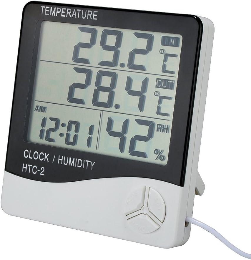 Nero Prenine Stazione meteorologica Wireless con sensore Esterno termometro Ampio Schermo LCD Digital Alarm Clock Snooze casa igrometro 12H 24H