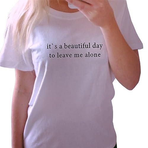 BLACKMYTH Linda Mujer Redondo Tops Camisetas Para Estampar Casual Suelta Señoras T-shirt