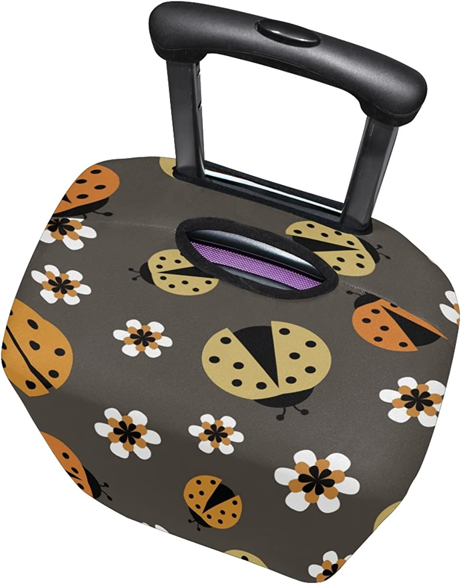 LAVOVO Ladybugs On Brown Luggage Cover Suitcase Protector Carry On Covers