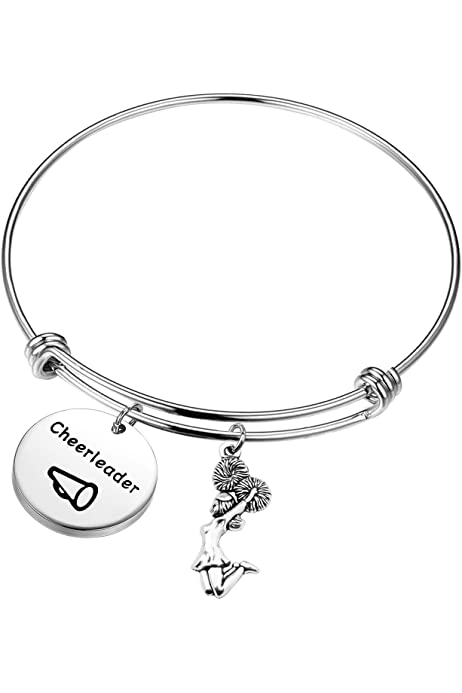 FEELMEM Cheer Coach Bracelet Live Love Coach Expandable Wire Bangle Cheer Jewelry Gift for Cheer Coaches