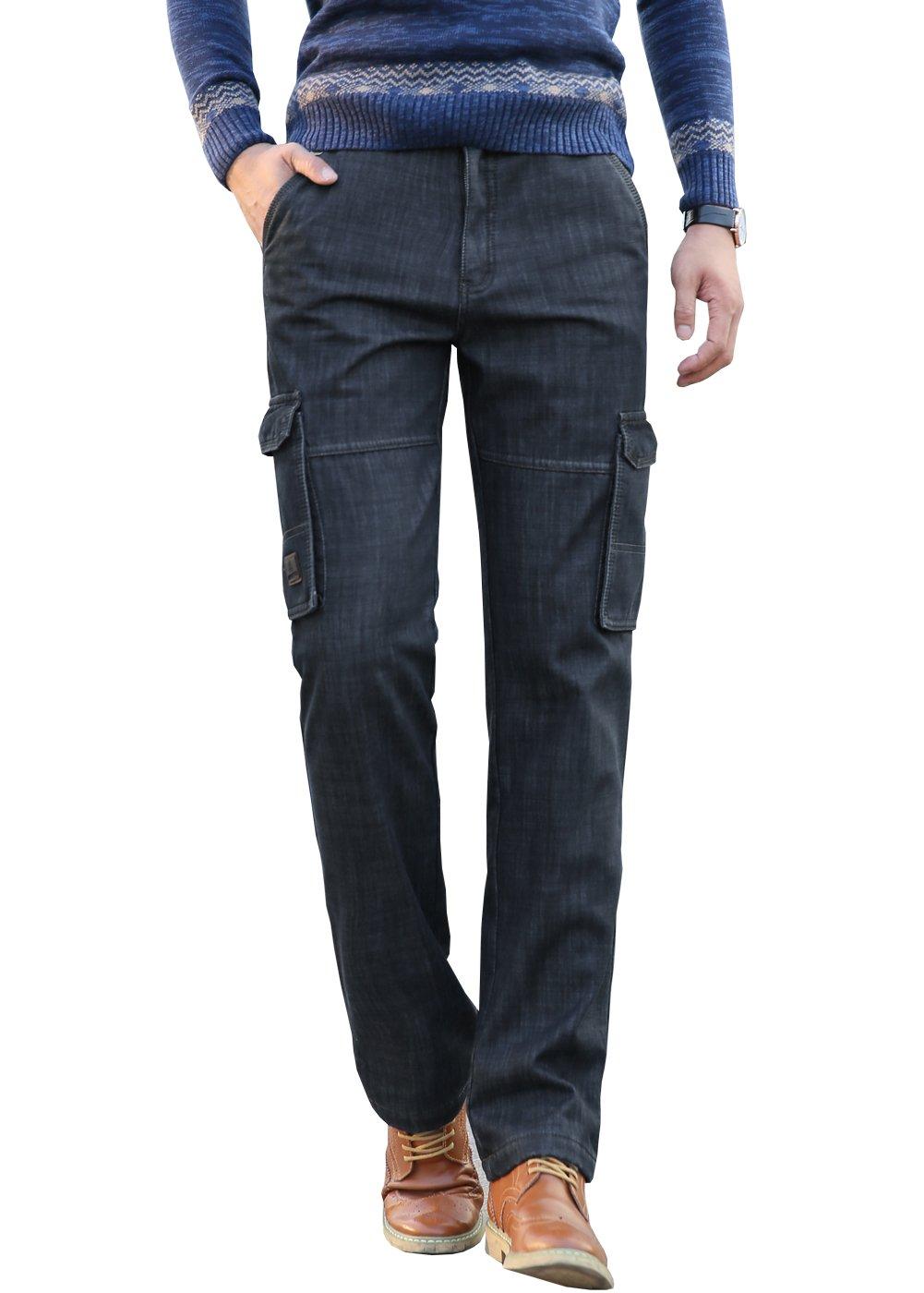 WLLLTO Men's Winter Fleece-Lined Thicken Warm Work Jeans Cargo Pants-33