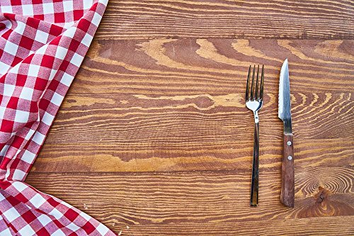 Laminated 35X24 Inches Poster  Hunger Fork Knife Metal Nobody Studio Background Nutrition Backgrounds Horizontal Table Fabric Plaid Red Brown Towel Textile White Perforated Pore Cotton