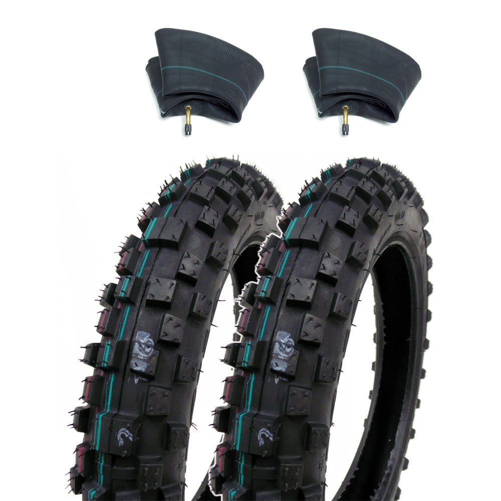 SET OF TWO: Knobby Tires 2.50-10 (Rim 10'') Front/Rear Tube Type Off Road Motocross Pattern + Matching Inner Tubes (TR87)