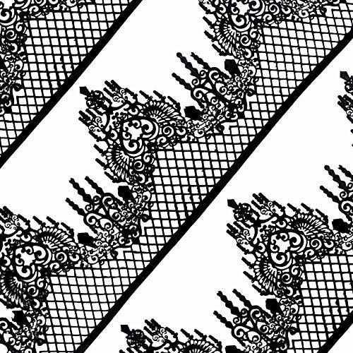 Funshowcase Large Pre-Made Ready to Use Edible Cake Lace Lattice Diamond Scallop 14-inch 10-piece Set Black]()