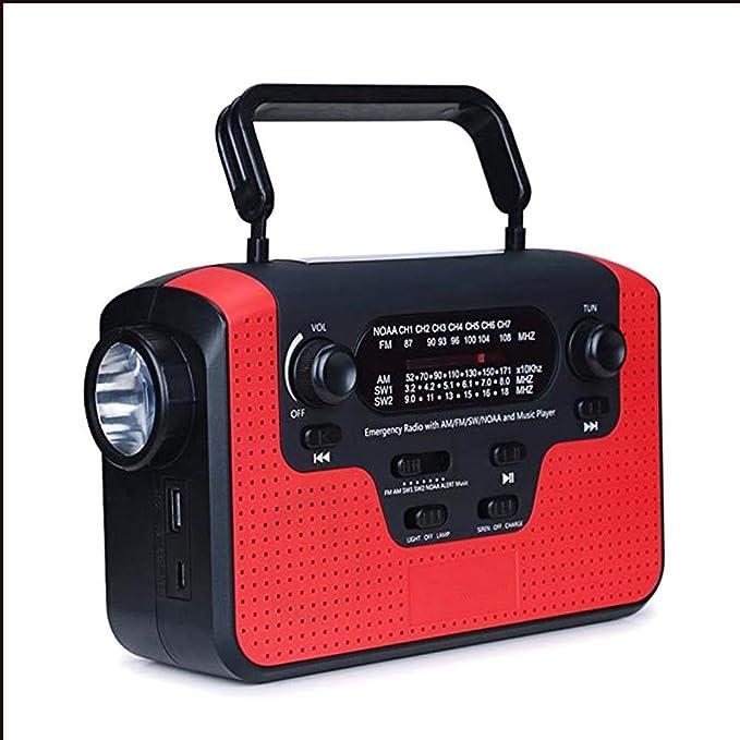 Rot Notfall Camping Ourdoor 2 Jahre Garantie Solar Radio,AngLink AM//FM//NOAA Kurbelradio Wiederaufladbare Dynamo Radio Wasserdicht LED Dynamo Lampe Powerbank f/ür Wandern