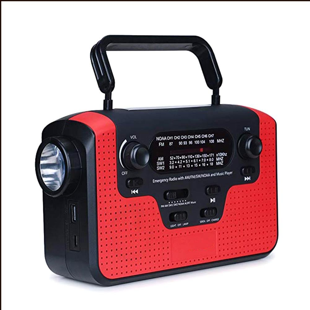 Seatechlogy Portable Emergency Weather Radio Hand Crank Self Powered AM/FM/SW1/SW2/NOAA Solar Radios TF Card Speaker with LED Flashlight & Reading Camping Lamp,