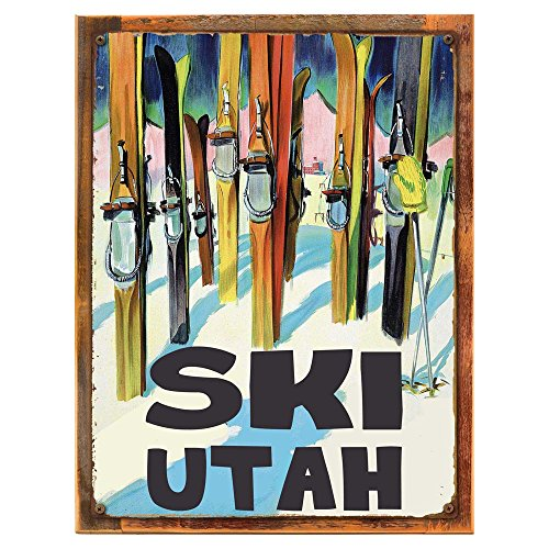 OMSC Wood-Framed Ski Utah Metal Sign, Vintage Travel Postcard Highlighting Traditional American Destinations on Reclaimed, Rustic Wood ()