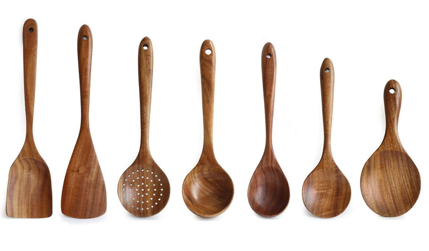 Wooden Utensils Set for Kitchen, Messon Handmade Natural Teak Cooking Spoons Wooden Spatula for Nonstick Cookware, 7 Set
