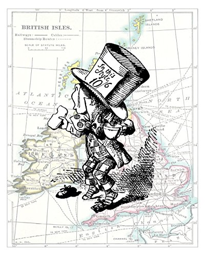 Reproduction Century 19th (8x10 Fine Art Print, The Mad Hatter, Alice in Wonderland Decorations, a John Tenniel Illustration. Overlaid on a 19th Century Reproduction Map of the British Isles, Size: 8x10 Inches (WMH2Map810))