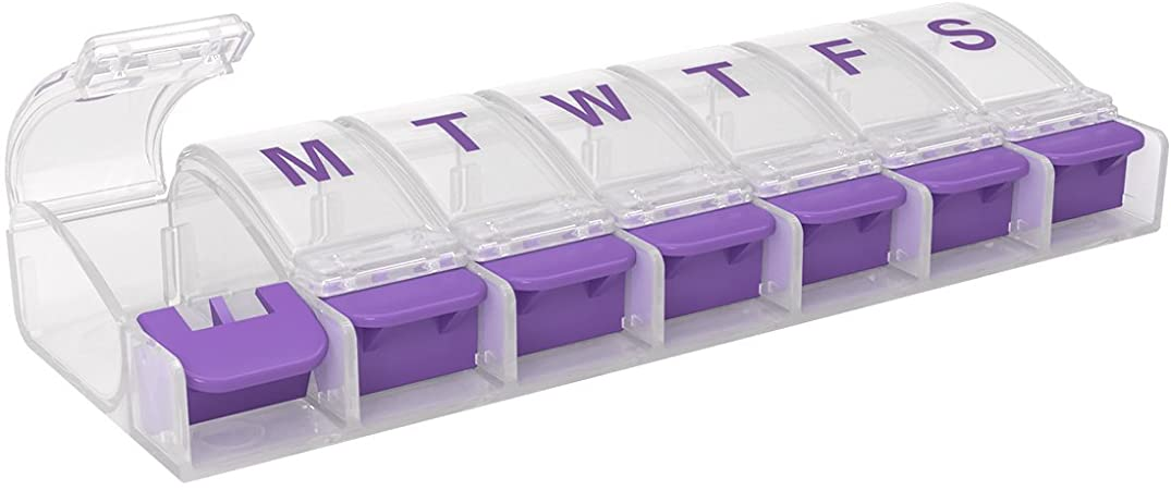 Ezy Dose Push Button (7-Day) Pill, Medicine, Vitamin Organizer Box, Weekly, Daily Planner, Large Compartments, Arthritis Friendly, Assorted Colors