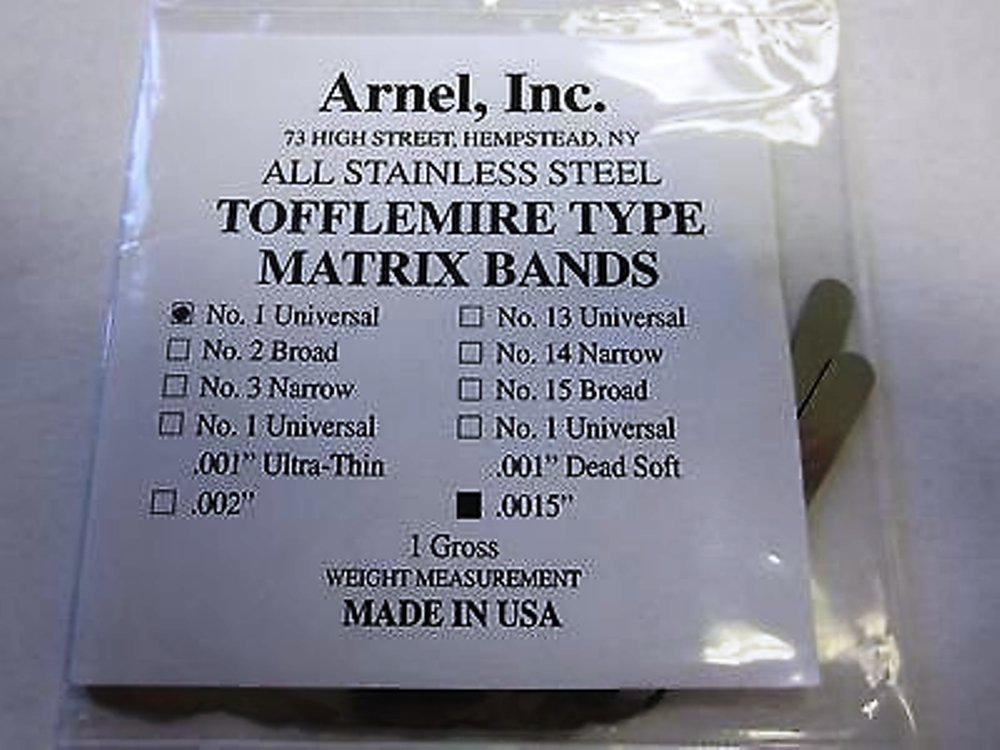 Matrix Bands Tofflemire .0015 Adult Universal #1 144/Pack