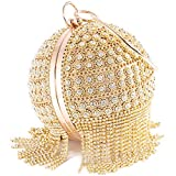 Womans Round Ball Clutch Handbag Dazzling Full Rhinestone Tassles Ring Handle Purse Evening Bag (B)