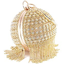 Gold-B Round Ball Clutch With Rhinestone Tassles & Ring Handle