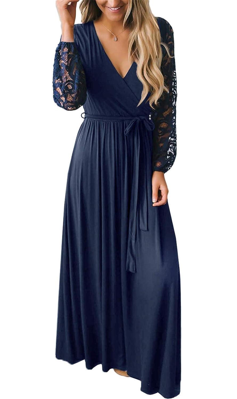 BesserBay Damen Spitze Langarm Bodenlanges Abendkleid in Winkeloptik