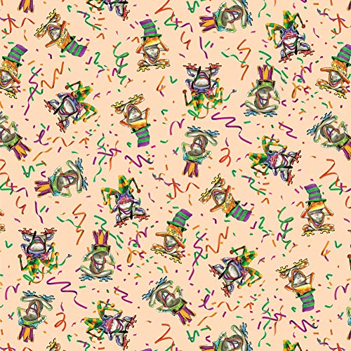 Graphics and More Mardi Gras Party Frogs See No Evil Hear Speak Pattern Premium Roll Gift Wrap Wrapping Paper