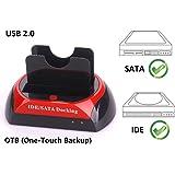 "Ronsen 875D Hard Disk Drive Docking Station -USB 2.0 Dual Puerto Bases de Conexión para Disco Duro 2.5""/3.5"" IDE y SATA I/II HDD SSD"