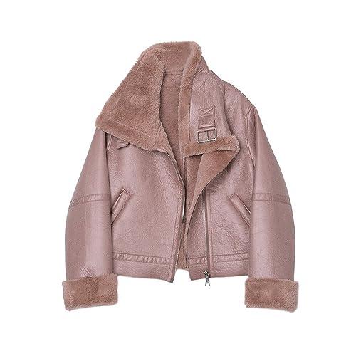 Invierno retro rosa sucio fur en uno corto, grueso Sau hembra abrigo chaqueta