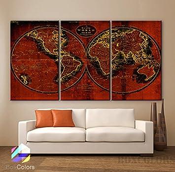 Impression Sur Toile Large De 30 X 60 3 Panneaux Art Original Carte