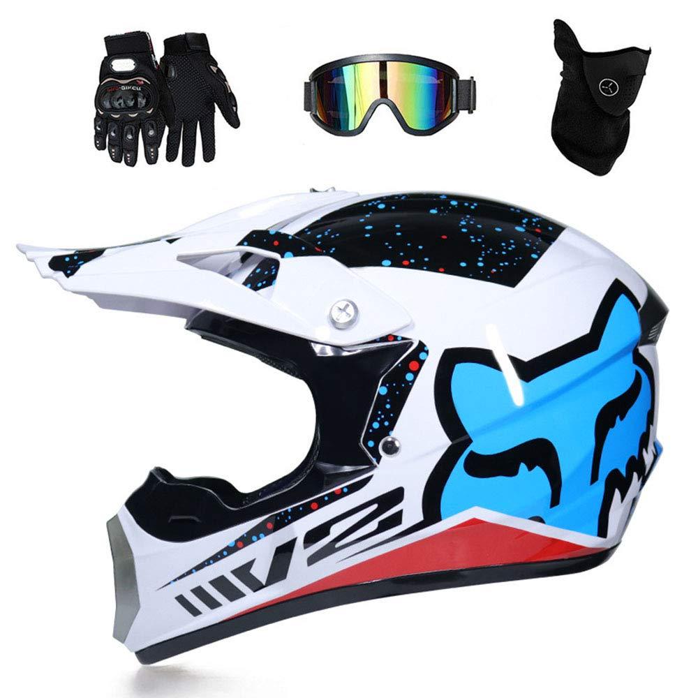 LTongx Casques de Moto de Motocross /& Gloves /& Goggles Casque de Karting Quad Bike Enfants Standard D.O.T pour Enfants