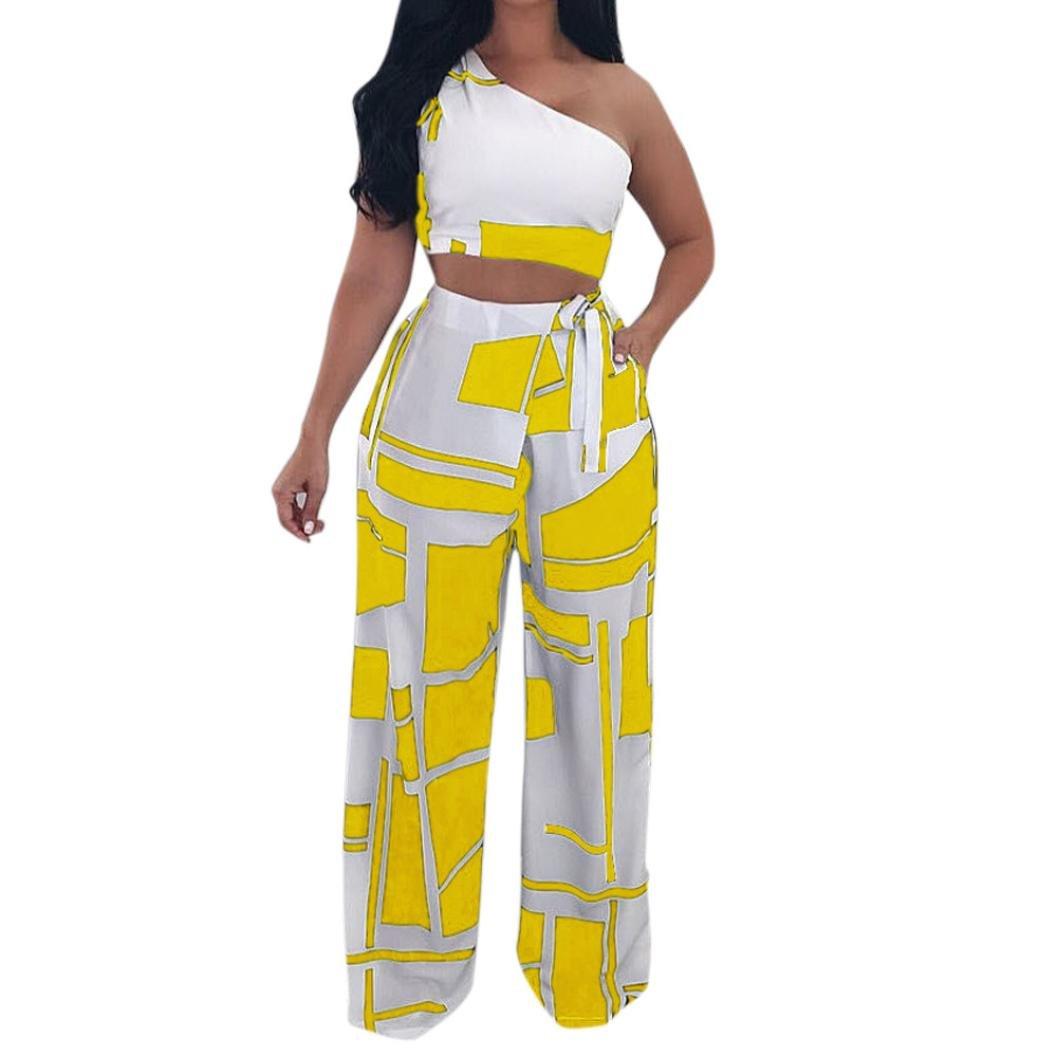 Hatoppy Women Nightclub Fashion Clothes Club Sexy Strapless Bandage Two Piece Set (XL, Yellow)