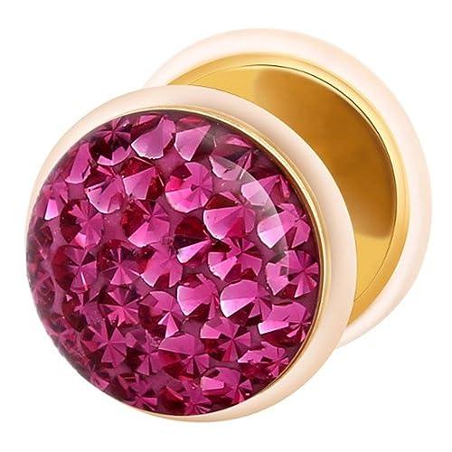 Dilatador Falso Piercing Plug Dorado, Pendiente, Multi Cristales Fucsia: Amazon.es: Joyería