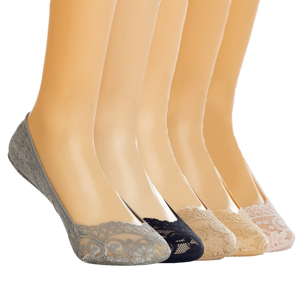 Dollytailor Women No Show Liner Lace Sock 5-Pack Socks Two Styles (WZ-2)Pink, White, Black, Gray, Skin color, One Size