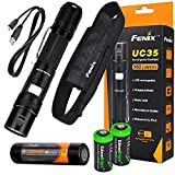 FENIX UC35 USB Rechargeable 960 Lumen Cree XM-L2 U2 multi battery type compatible LED Flashlight with, 3200mAh rechargeable battery, USB charging cable and 2 X EdisonBright lithium CR123A back-up batteries bundle
