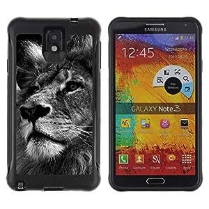 "Pulsar iFace Series Tpu silicona Carcasa Funda Case para SAMSUNG Galaxy Note 3 III / N9000 / N9005 , León Negro Blanco Foto Naturaleza del gato grande"""