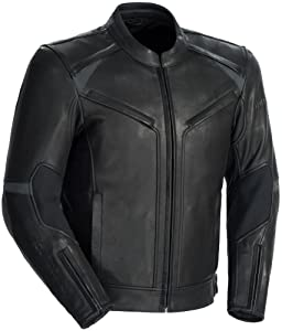 TourMaster Element Cooling Men's Leather Motorcycle Jacket (Black, Small)