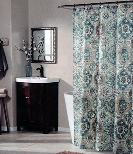 mstyle-fabric-shower-curtain-blue-green-and-brown-medallion-pattern-on-tan-alibaba-teal