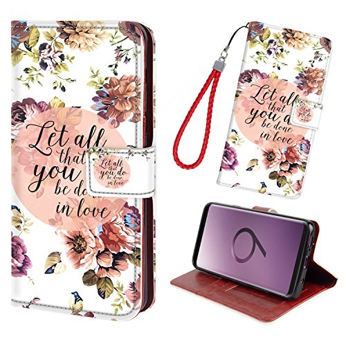 S9 Plus/S9+ Leather Case,2 Credit Card Holders and 1 Money Slot Wallet Case with Kickstand & Free Wrist Strap, Flip Cover [TPU Shockproof Interior Case] for Galaxy S9 Plus/S9+[Floral Flower]