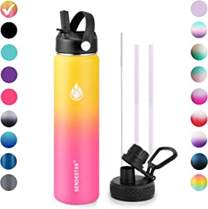 SENDESTAR Stainless Steel Water Bottle,2 or 3 Lids(18 oz, 24oz,32 oz,40 oz or 64oz),Double Wall Vacuum Insulated Leak Proof, Wide Mouth with Straw Lid,Spout Lid (24 oz, 24 oz-Gradient Yellow (2 LIDS))