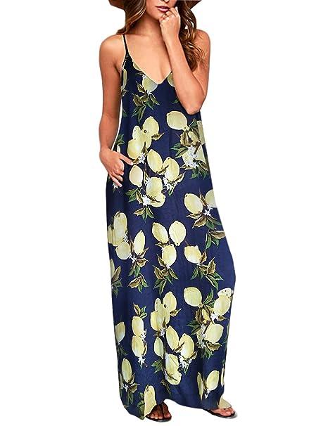 feedaa9b53 Exlura Vestido para Mujer Casual Boho Tirantes Puntos Gigantes Polk Lemon   Amazon.es  Ropa y accesorios