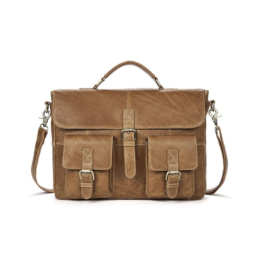 Rossie Viren Men Leather Bag Vintage Leather Laptop Briefcase Postman Handbag Unisex New