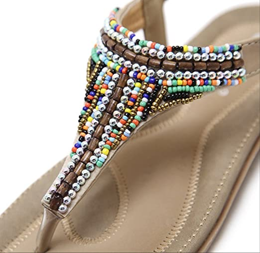87281a2b5f280 NNZZY Women s Ladies Sandals Round Peep Toe Flower Rhinestone Elastic T- Strap Bohemia Roman Summer Beach Post Sandals Flip Flops Flat heel Shoes  Thongs