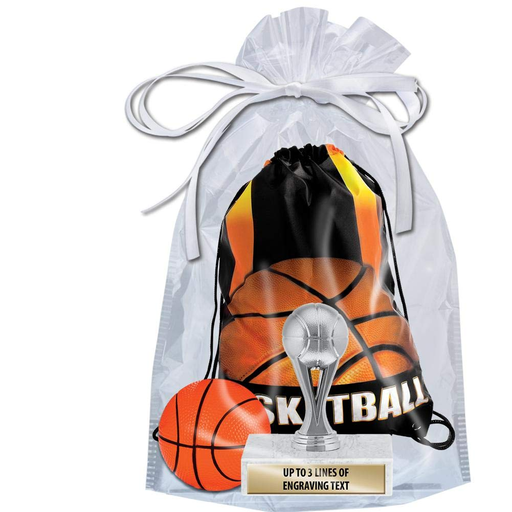 Crown Awards Basketball Goodie Bags, Basketball Favors for Basketball Themed Party Supplies Comes with Personalized Silver Kids Basketball Trophy, Squishball and Basketball Drawstring 20 Pack Prime by Crown Awards (Image #2)