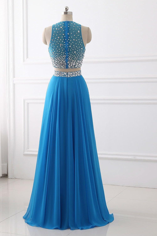 Amazon.com: MARSEN Women\'s High Neck Two Piece Long Prom Dress ...