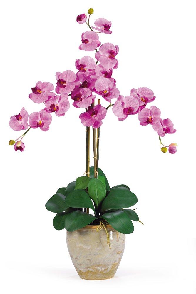Nearly Natural 1017-MA Triple Phalaenopsis Silk Orchid Flower Arrangement, Mauve